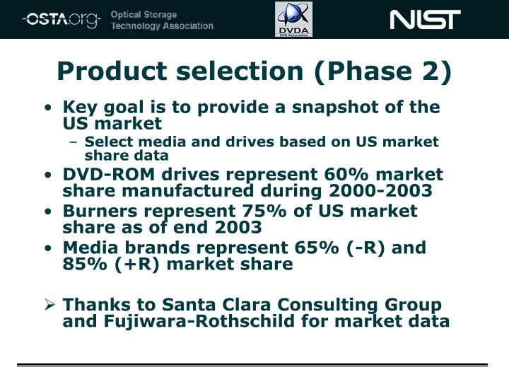 Product selection (Phase 2)