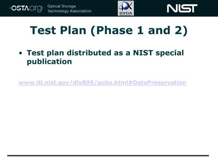 Test Plan (Phase 1 and 2)