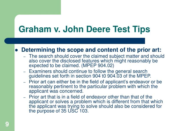 Graham v. John Deere Test Tips