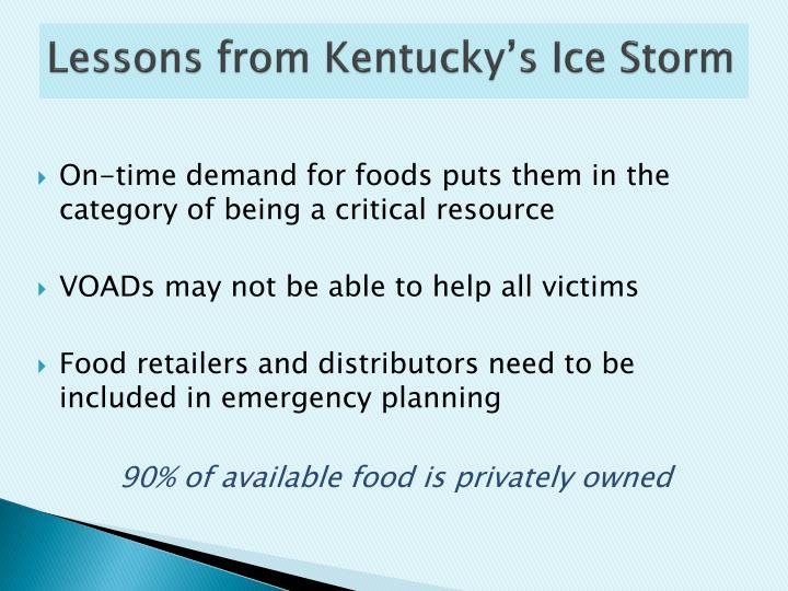 Lessons from Kentucky's Ice Storm