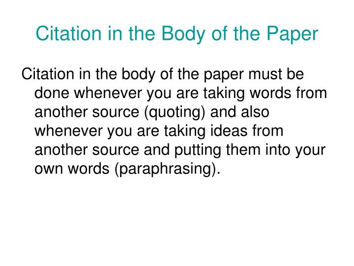 Citation in the Body of the Paper