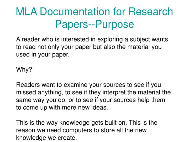 Mla documentation for research papers purpose