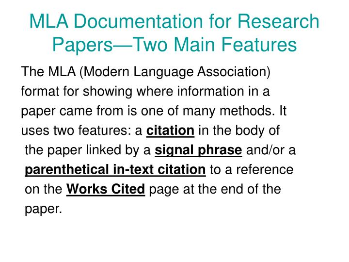 MLA Documentation for Research Papers—Two Main Features
