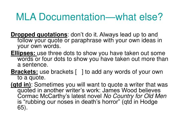 MLA Documentation—what else?