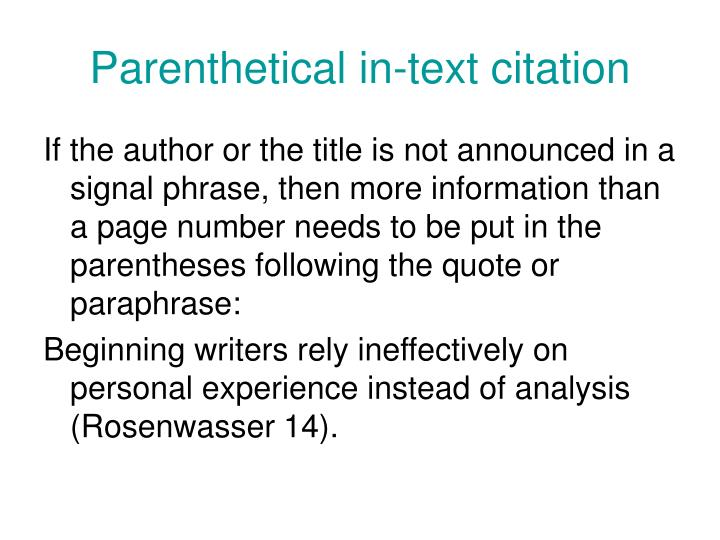 Parenthetical in-text citation