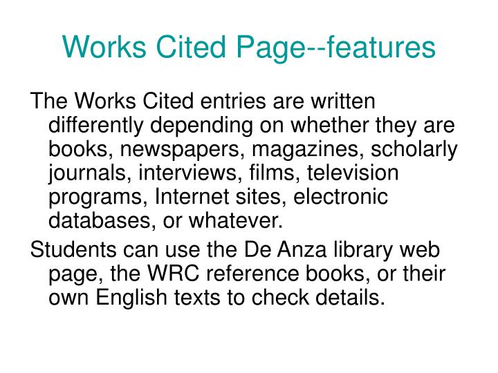 Works Cited Page--features