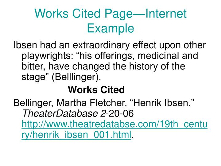 Works Cited Page—Internet Example