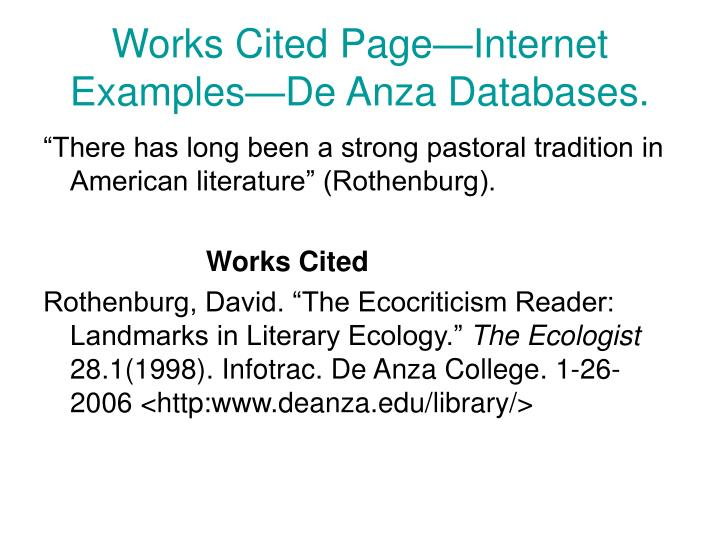 Works Cited Page—Internet Examples—De Anza Databases.