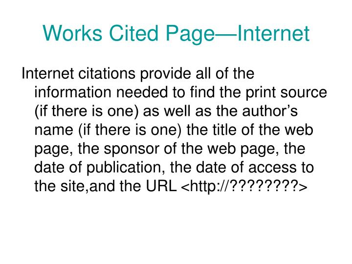 Works Cited Page—Internet