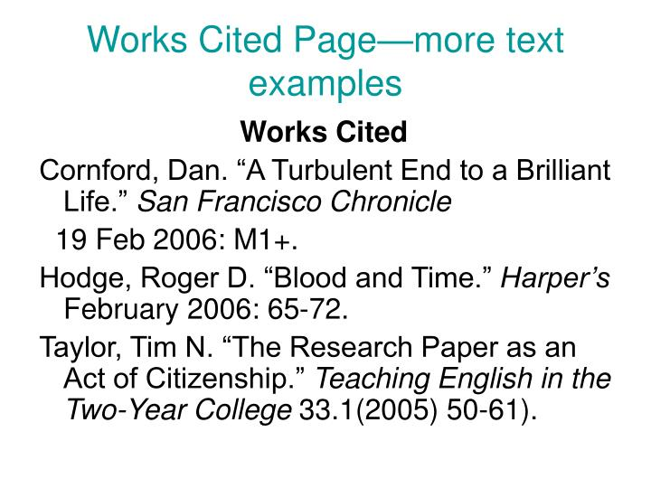 Works Cited Page—more text examples