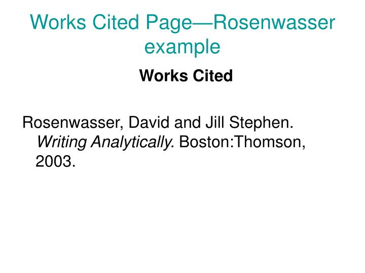 Works Cited Page—Rosenwasser example