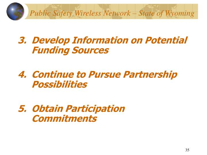 Develop Information on Potential Funding Sources