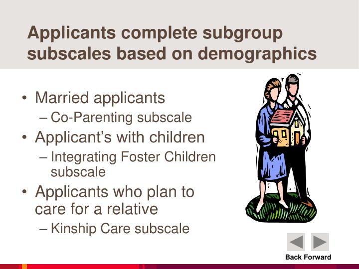 Applicants complete subgroup subscales based on demographics