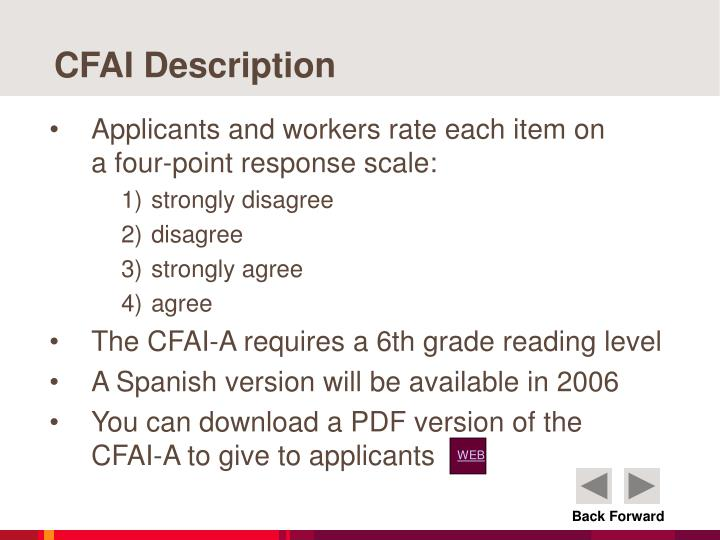 CFAI Description