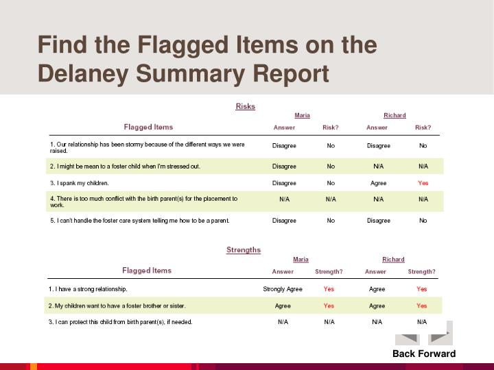 Find the Flagged Items on the Delaney Summary Report