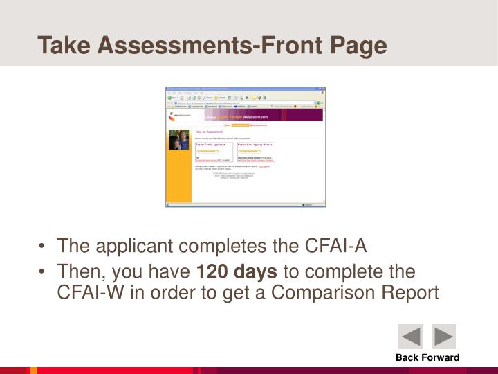 Take Assessments-Front Page