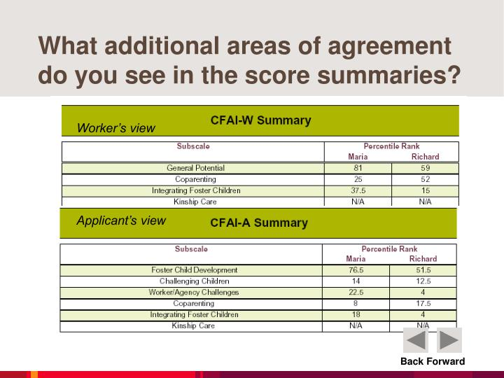 What additional areas of agreement do you see in the score summaries?