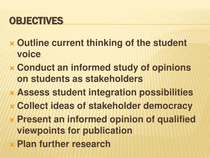Outline current thinking of the student voice