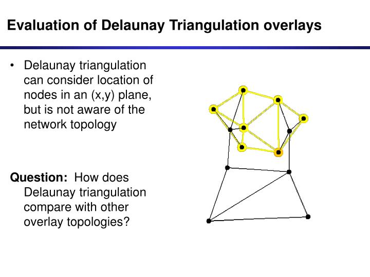 Evaluation of Delaunay Triangulation overlays