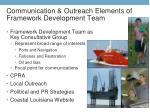 communication outreach elements of framework development team