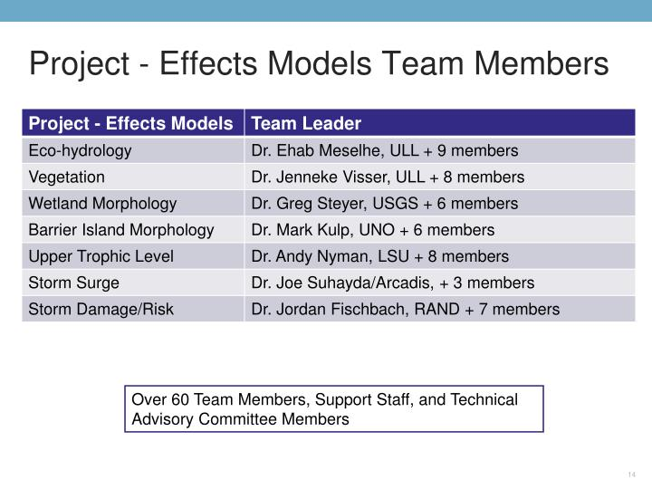 Project - Effects Models Team Members