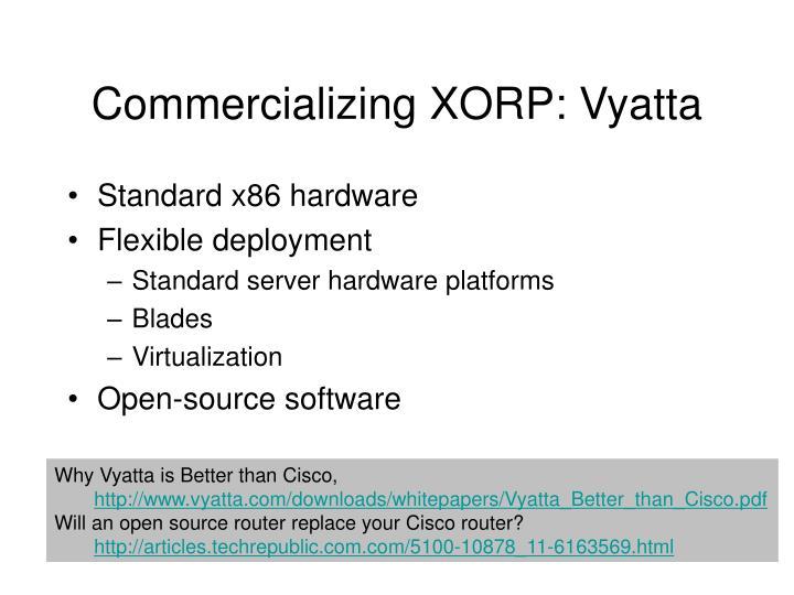 Commercializing XORP: Vyatta