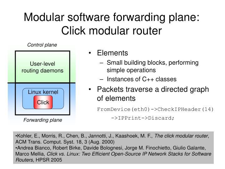 Modular software forwarding plane: