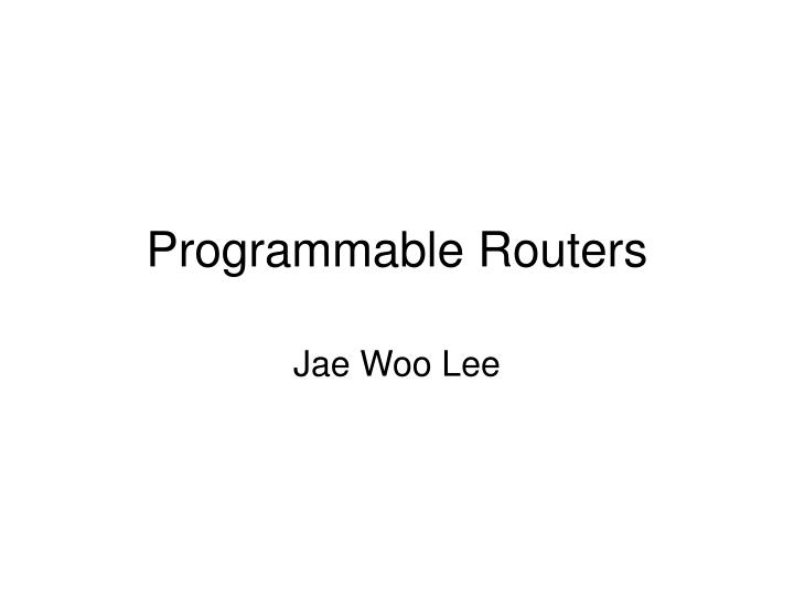 Programmable routers
