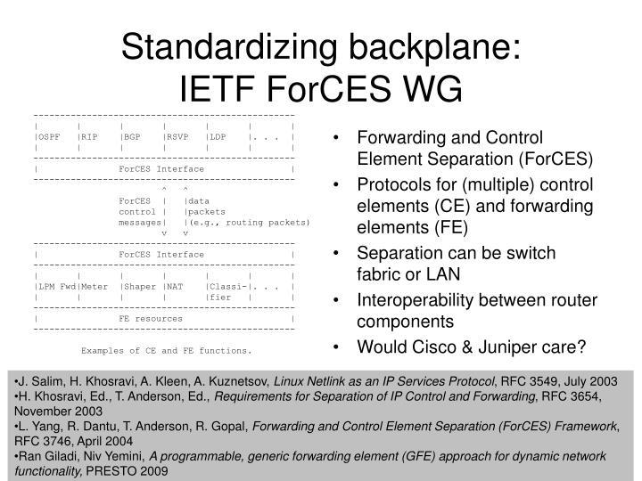 Standardizing backplane:
