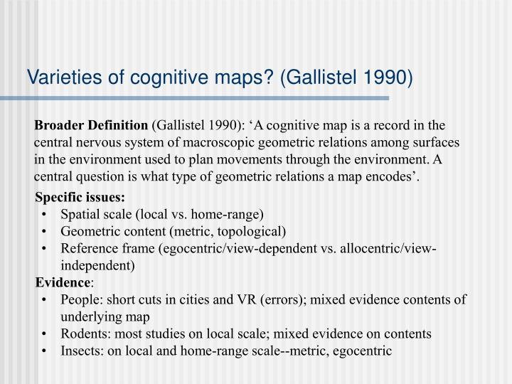 Varieties of cognitive maps? (Gallistel 1990)