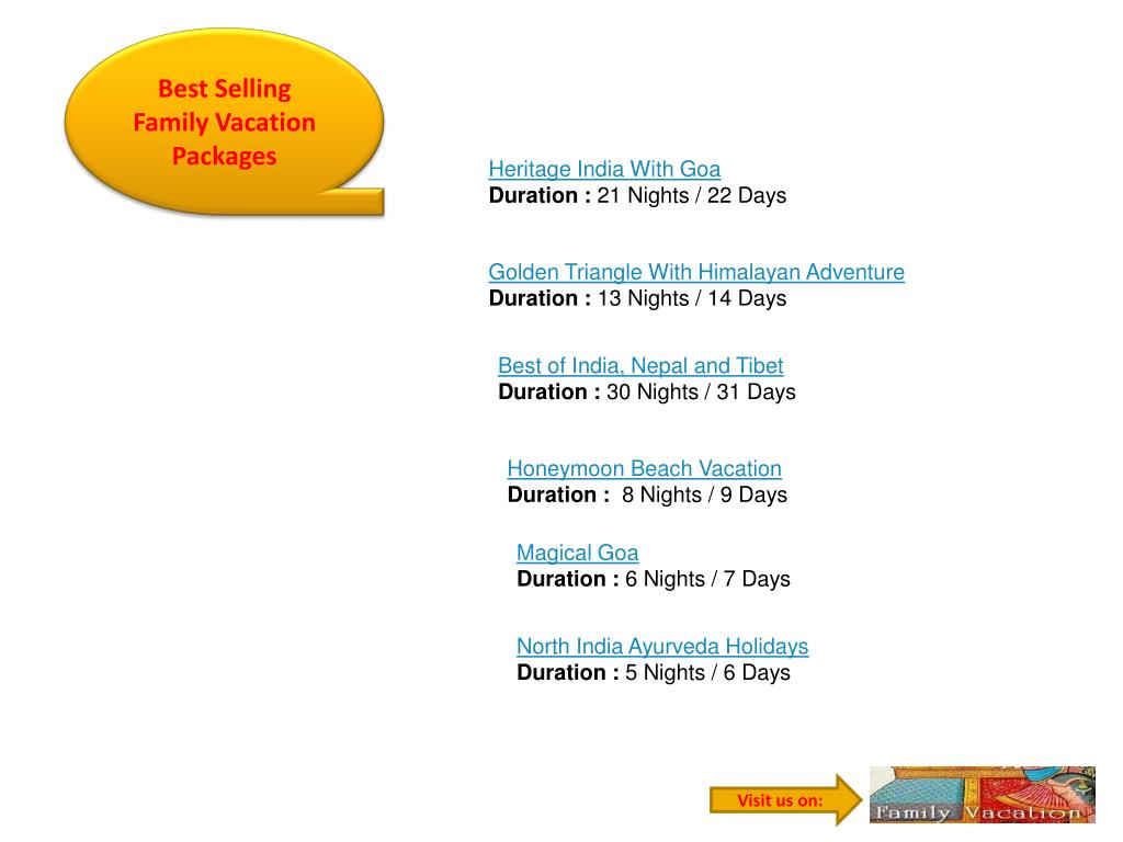 Best Selling Family Vacation Packages