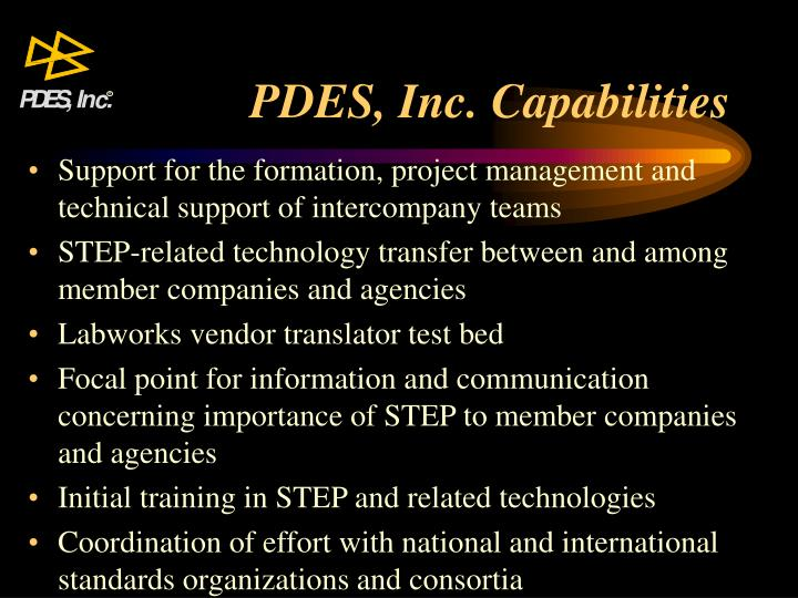 PDES, Inc. Capabilities