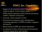 pdes inc capabilities