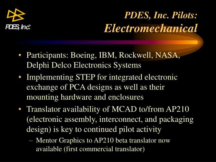 PDES, Inc. Pilots: