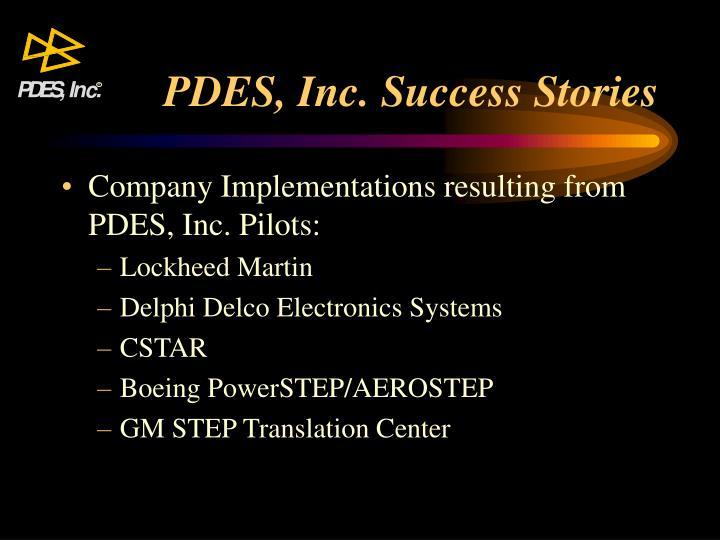 PDES, Inc. Success Stories