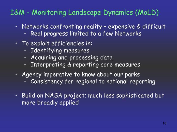 I&M - Monitoring Landscape Dynamics (MoLD)