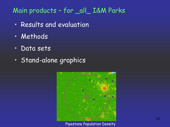 Main products – for _all_ I&M Parks