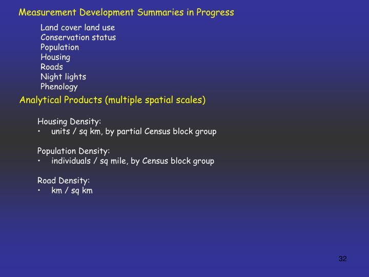 Measurement Development Summaries in Progress