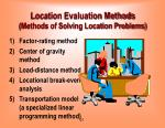 location evaluation methods methods of solving location problems