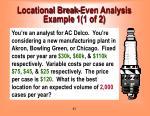 locational break even analysis example 1 1 of 2