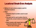 locational break even analysis1