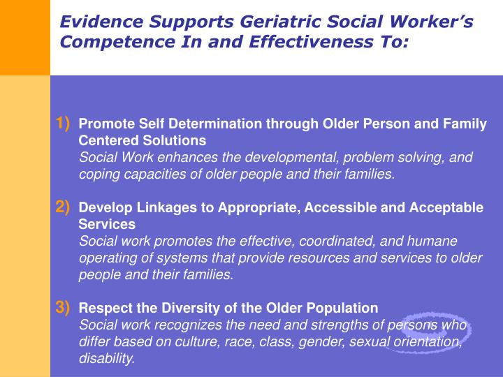 Promote Self Determination through Older Person and Family Centered Solutions