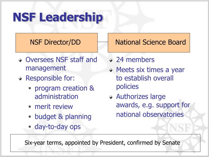 Oversees NSF staff and management