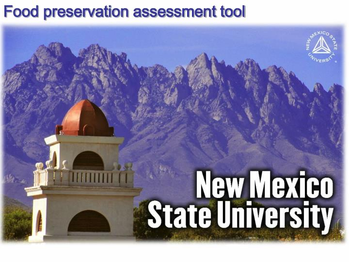 Food preservation assessment tool