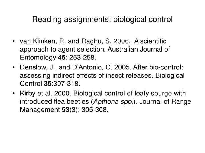 reading assignments biological control