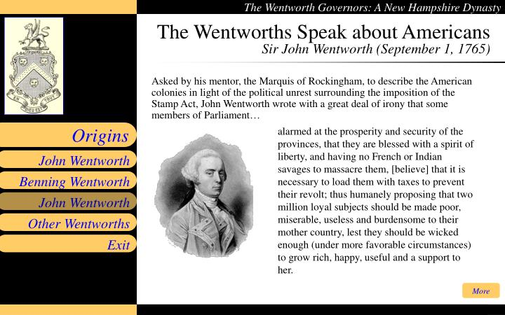 The Wentworths Speak about Americans