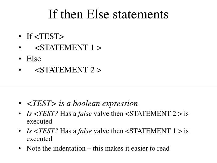 If then Else statements