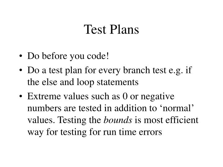 Test Plans