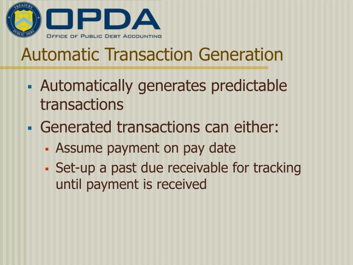 Automatic Transaction Generation