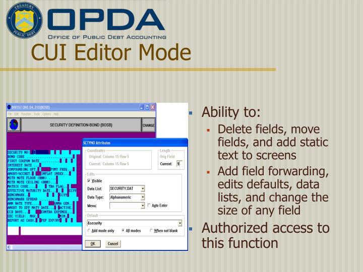 CUI Editor Mode